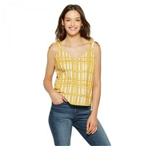 NWT Universal Thread Plaid Tank Top Medium Yellow